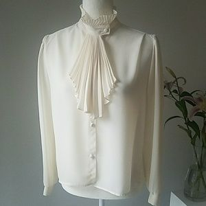 Vintage Ruffle Collar with Pleated Faux Tie